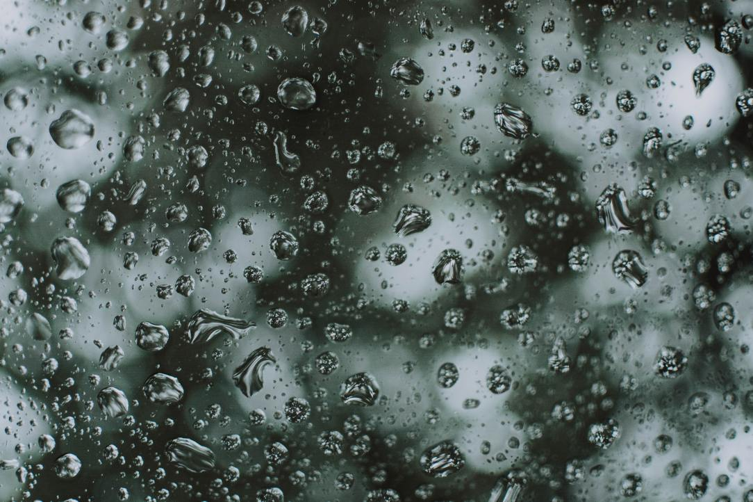 A closeup photo of rain drops
