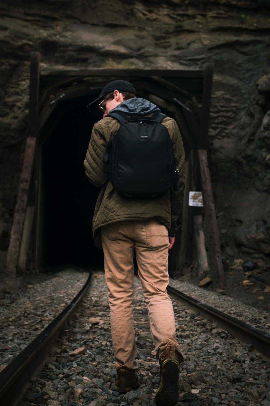 A picture of a person looking back